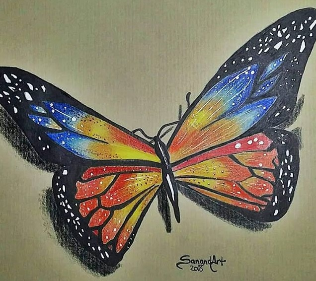 Dibujo Hiperrealista mariposa