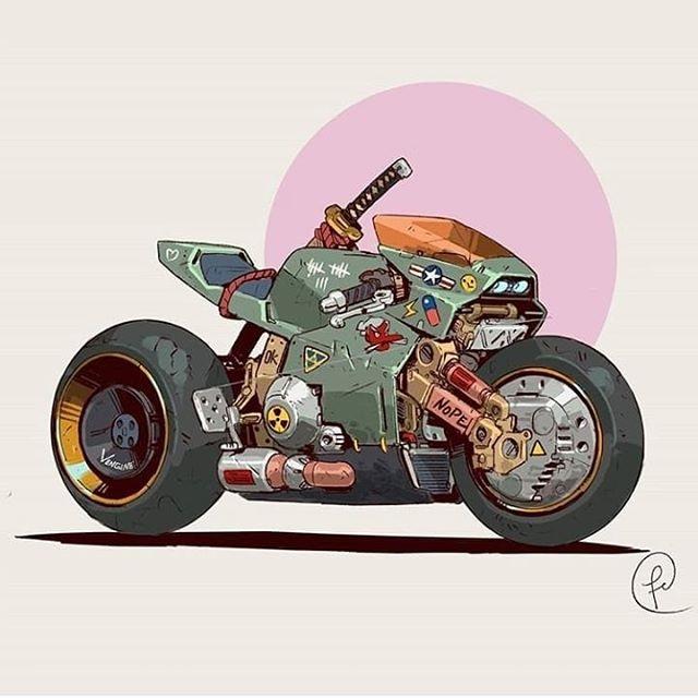 La moto de Akira para dibujar y colorear